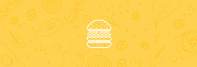 White outline of a burger on a yellow background with toppings